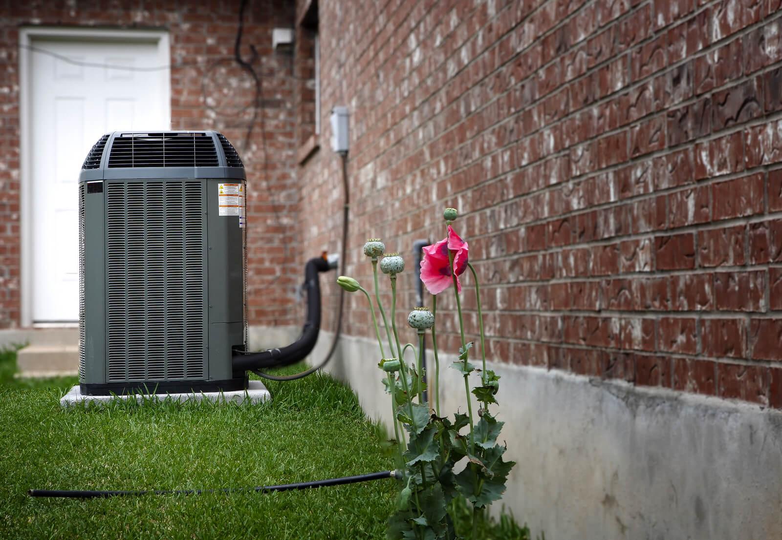 High efficiency modern AC-heater unit, energy save solution on backyard